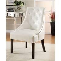 Clay Alder Home Lincoln Hwy White Vinyl Half Arm Accent Chair