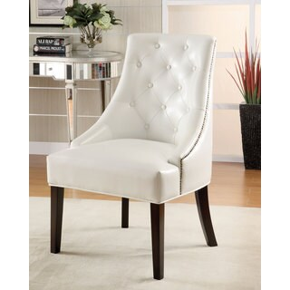 Clay Alder Home Lincoln Hwy White Vinyl Half Arm Accent Chair
