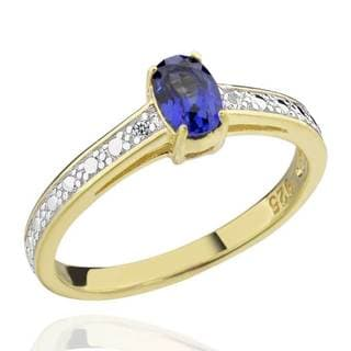 Sterling Silver Two-Tone Oval Created Blue Sapphire & Diamond Accent Ring