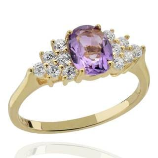 Sterling Silver 14Kt Gold-Plated Brazilian Amethyst & CZ Ring (China)