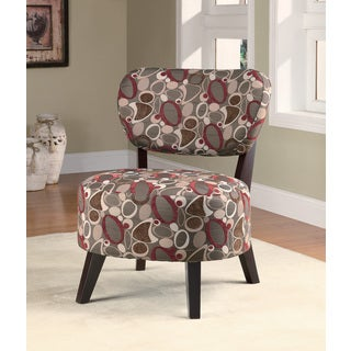 Grey/ Red Oblong Pattern Accent Chair