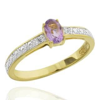 Sterling Silver Two-Tone Oval Brazilian Amethyst & Diamond Accent Ring