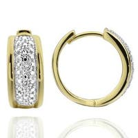 Goldplated Sterling Silver Two-tone Diamond Accent Clip-in Hoop Earrings (China)