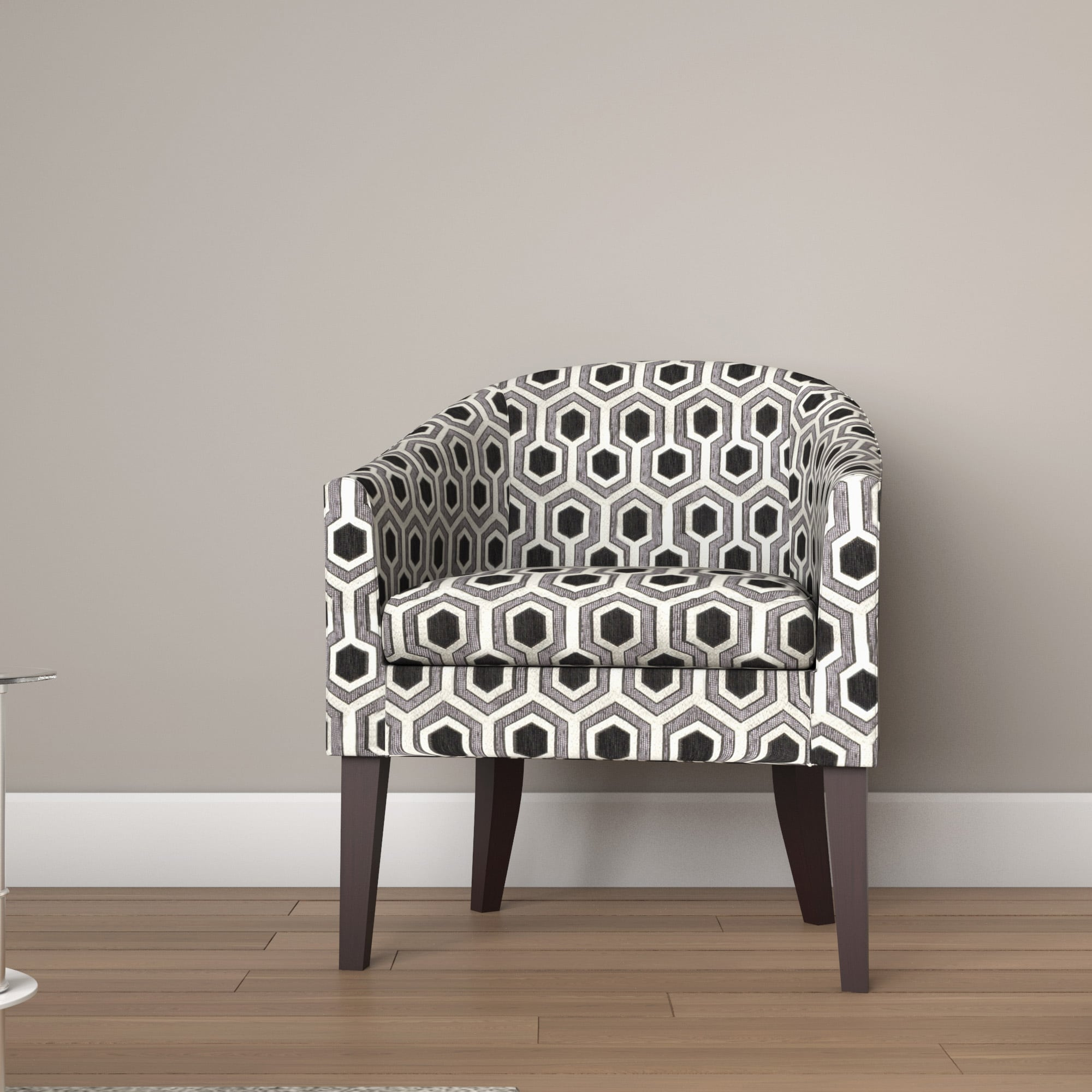Ballard Vernon Charlotte Black/ White Geometric Barrel Chair
