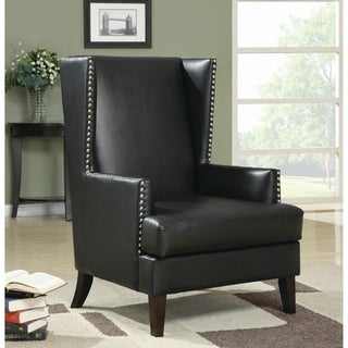 Black Vinyl Studded Wingback Chair