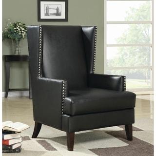Coaster Company Black Vinyl Studded Wingback Chair