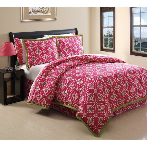 Tribeca Pink and Lime Reversible 6-piece Oversized and Overfilled Reversible Bed in a Bag