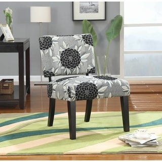 Big Flowers Black and White Accent Chair