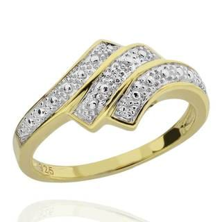 Sterling Silver Two-Tone Round Diamond Accent Bypass Ring