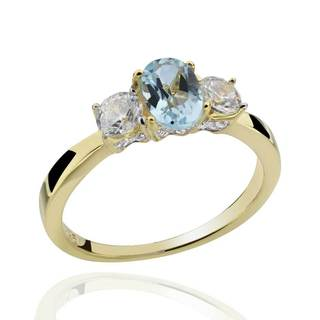Sterling Silver 14Kt Gold-Plated Blue Topaz & Cubic Zirconia 3-Stone Ring