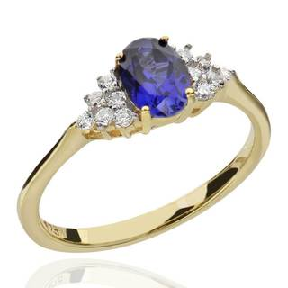 Sterling Silver 14Kt Gold-Plated Created Blue Sapphire & CZ Ring