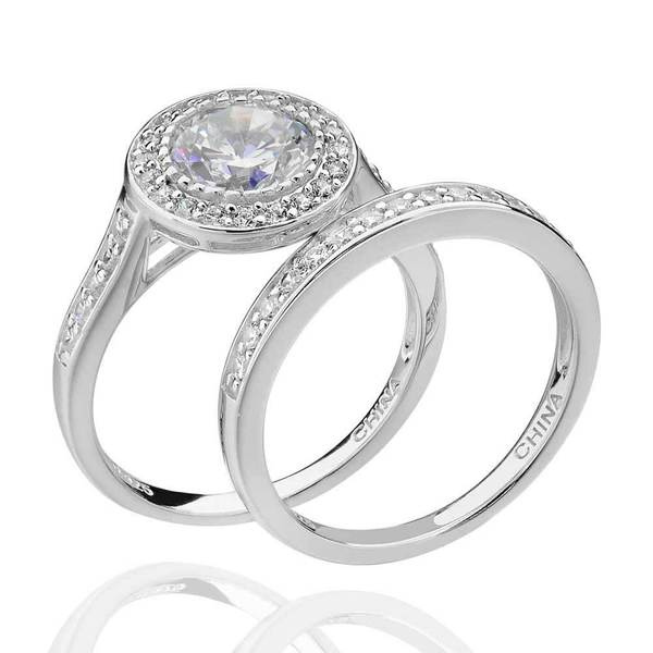 2 66 Tcw Round White Cubic Zirconia 2 Piece Halo Bridal: Shop Sterling Silver 2.5 Ct Tcw Cubic Zirconia 2-Piece