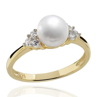 Sterling Silver 14Kt Gold-Plated Freshwater Pearl & Cubic Zirconia Ring
