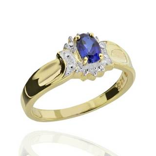 Goldplated Sterling Silver Two-tone Created Sapphire and Diamond Accent Ring (China)