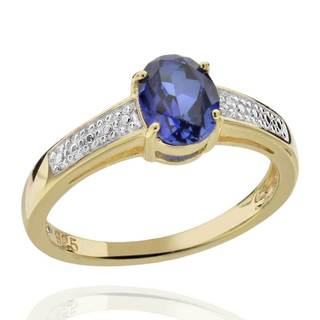 Sterling Silver Two-Tone Created Blue Sapphire & Diamond Accent Ring