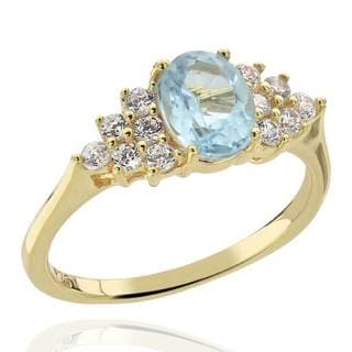 Sterling Silver 14Kt Gold-Plated Blue Topaz & Cubic Zirconia Ring