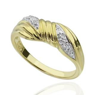 Sterling Silver Two-Tone Round Diamond Accent Ring (China)