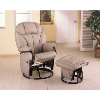 Coaster Company Bone Leatherette Glider with Ottoman