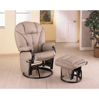 Bone Leatherette Glider with Ottoman