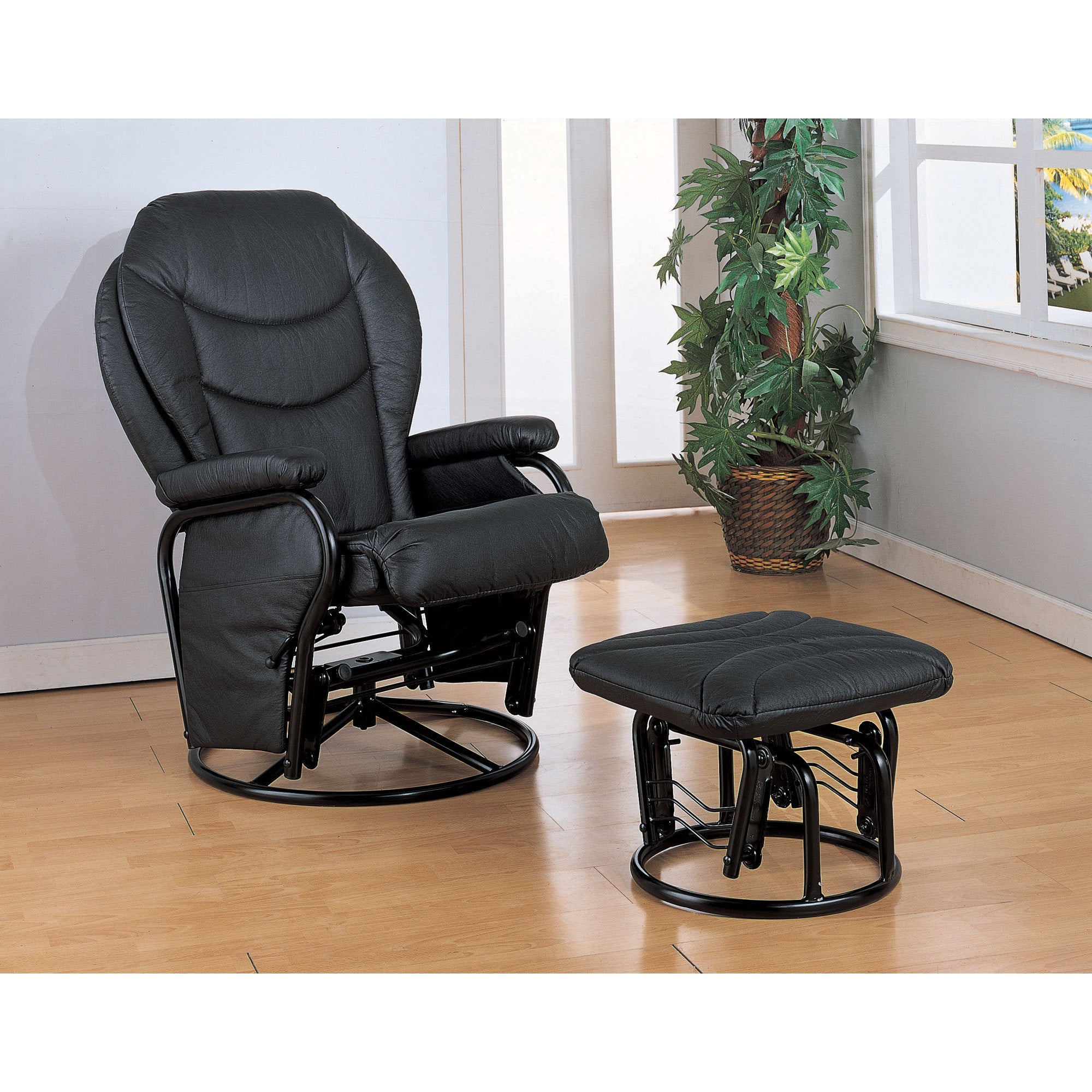 Coaster Company Black Leatherette Glider Chair With Ottoman 2 Piece