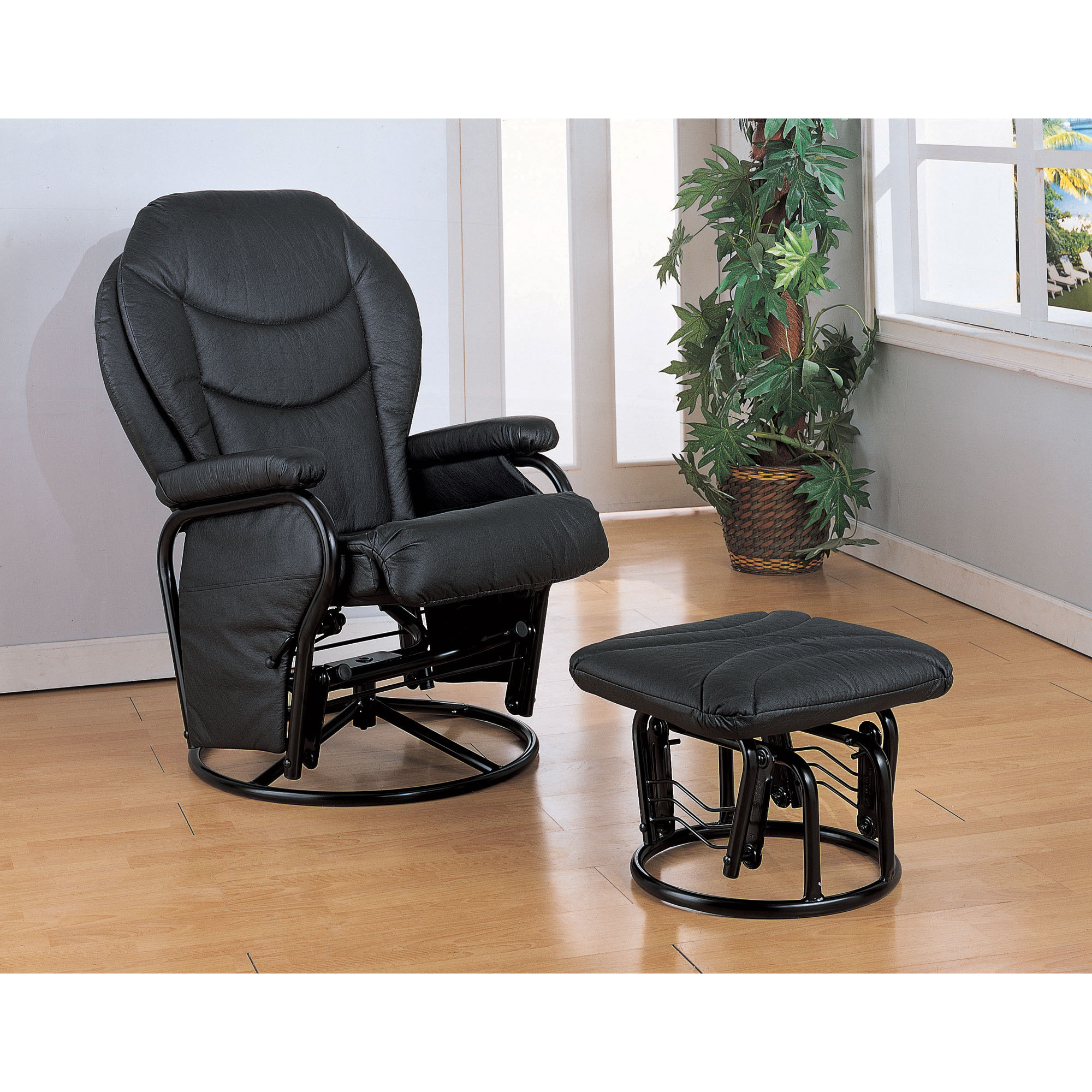 Coaster Furniture Black Leatherette Glider Chair with Ott...