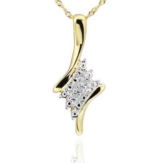 Sterling Silver Two-Tone Diamond Accent Pendant Necklace 18-inch Chain