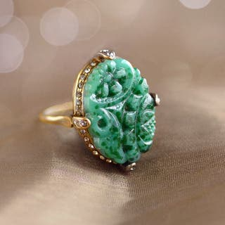 Sweet Romance Jadeite Vintage Ring|https://ak1.ostkcdn.com/images/products/12186368/P19035802.jpg?impolicy=medium
