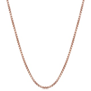 Fremada Italian Rose Gold over Sterling Silver 1-mm Round Box Chain Necklace (16 - 36 inches)