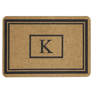 Mohawk Home Grand Terrace Natural Monogram K (1'11 x 2'11)