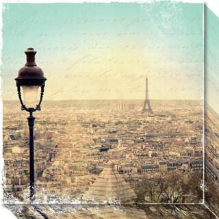 Canvas Art Gallery Wrap 'Eiffel Landscape Letter Blue I' by Sue Schlabach 20 x 20-inch