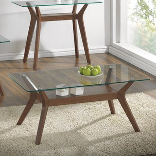 Coaster Company Brown Wood and Glass Coffee Table