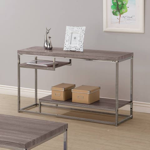"Coaster Company Weathered Grey Wood Nickel Sofa Table - 47.25"" x 15.75"" x 29"""