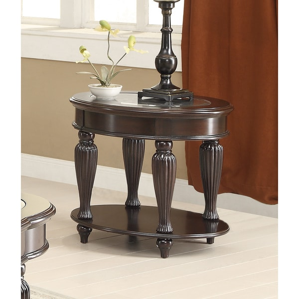 Home Furniture Coaster Furniture Living Room Dark Brown Coffee Table Furniture of America Zerathe Dark Cherry and Glass Top End Table