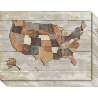 Canvas Art Gallery Wrap 'Wood Map' by Sparx Studio 20 x 15-inch