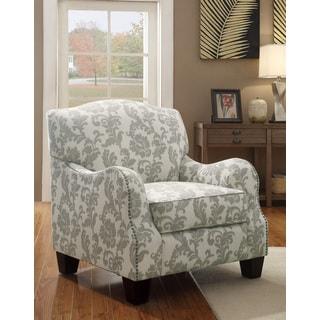 Beige Linen Floral Accent Chair