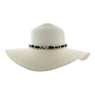 Faddism Women's Woven Cotton, Polyester, and Paper Straw Sun Hat With Chain Hatband