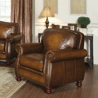 Coaster Company Brown Rubbed Leather Arm Chair