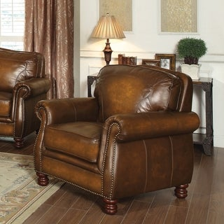 Brown Rubbed Leather Arm Chair