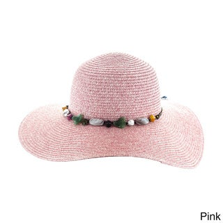 Faddism Womens Woven Sun Hat With Colorful Stones Adorned Hatband