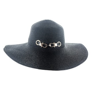 Faddism Women's Woven Straw Sun Hat With Metal Buckle Hatband