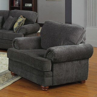 Coaster Company Smokey Grey Chenille Arm Chair