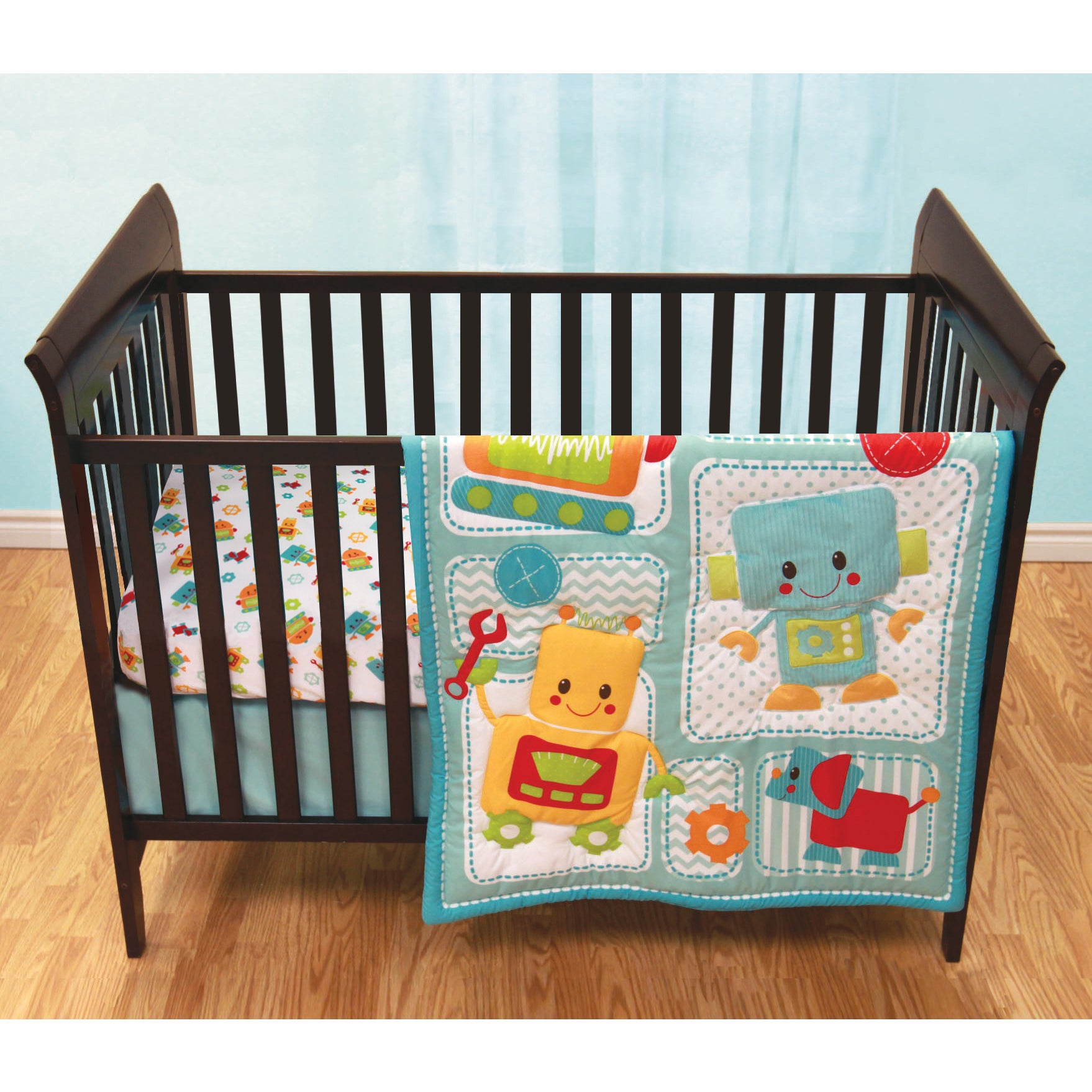 Baby's First Peek-A-Bot Multicolored 3-piece Crib Bedding...