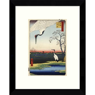 Framed Art Print 'Minowa, Kanasugi, Mikawashima.' by Ando Hiroshige 9 x 11-inch