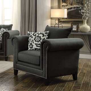 Coaster Company Charcoal Linen Studded Arm Chair