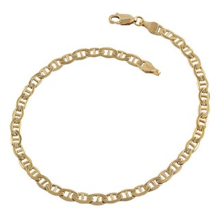 Decadence 14k Yellow Gold 8.5-inch Concave Mariner Link Bracelet