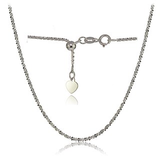 Mondevio 14k White Gold 1.3mm Rock Rope Adjustable Italian Chain Anklet, 9-11 Inches