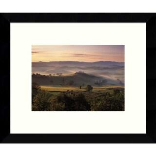 Framed Art Print 'Dawn Mist Rising (Countryside)' by Michael Hudson 11 x 9-inch