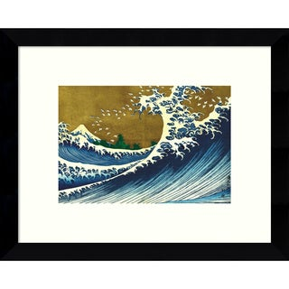 Framed Art Print 'Big Wave (from 100 views of Mt. Fuji)' by Katsushika Hokusai 11 x 9-inch