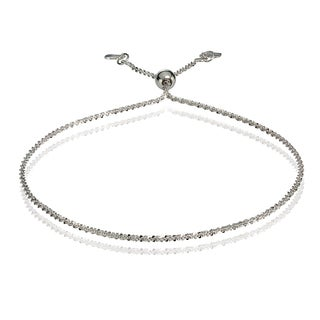 Mondevio 14k White Gold 1.3mm Rock Rope Adjustable Italian Chain Bracelet, 7-9 Inches