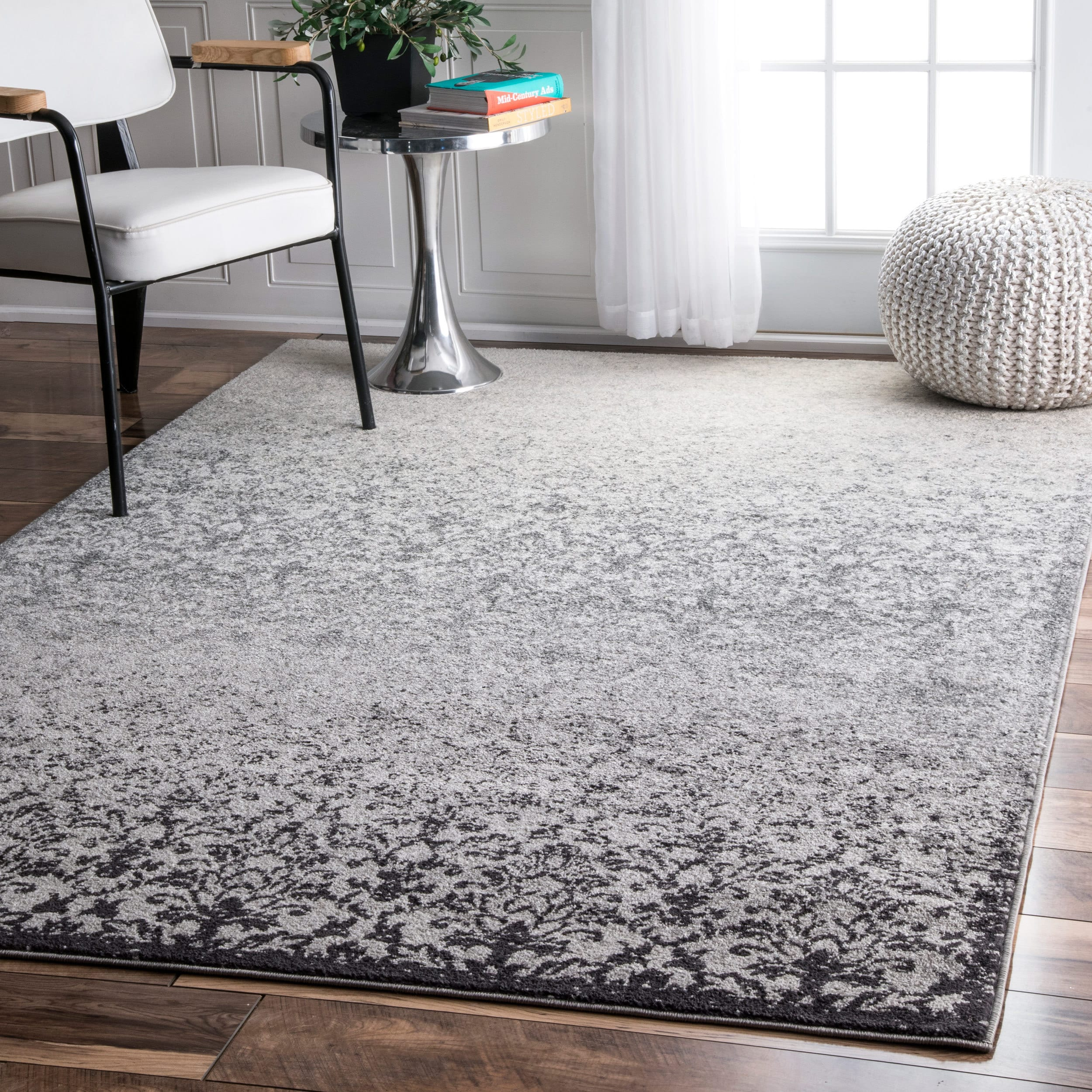 The Curated Nomad Balboa Vintage Abstract Grey Rug (4' x 6')